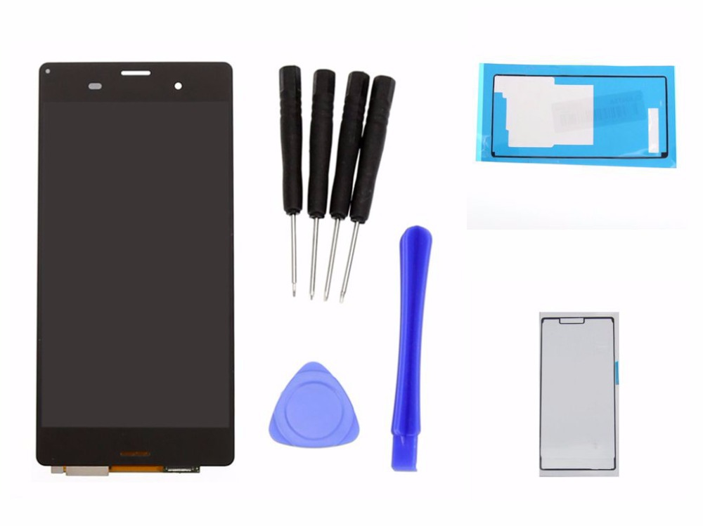 Для Sony xperia z3 D6603 D6643 D6653 L55t жк-дисплей сенсорный экран с цифрователем монтажный комплект + клейкий + инструмент, Черный