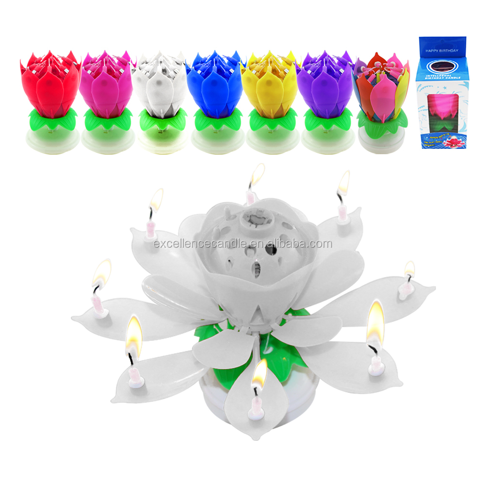 Amazing Rotatable Beautiful Musical Blossom Lotus Flowers Happy Birthday Candles