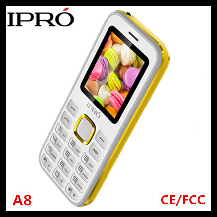 Accept small orders! Custom made IPRO A8 2.4 inch basic phone 2G gsm mobile spain one key torch and bluetooth