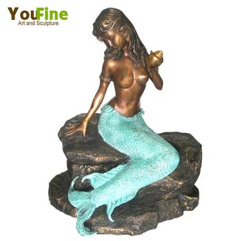 Modern Garden Abstract Bronze Mermaid Sculpture For