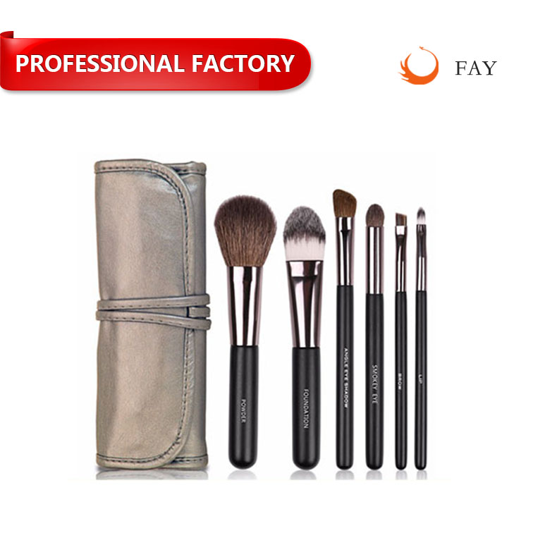 Fay animal and synthetic hair mixed gun metal ferrule wooden handle 6pcs makeup brushes set with belt case