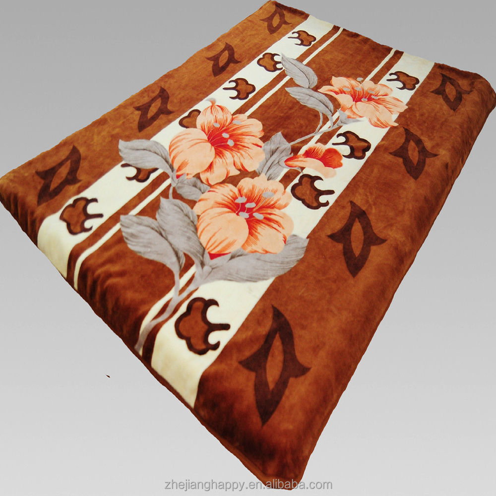 Heavy Plush Korean Style Mink Raschel Blanket 2 Ply 2 Sides Floral Printed Silky Touch Velvet King Size Bed Blanket