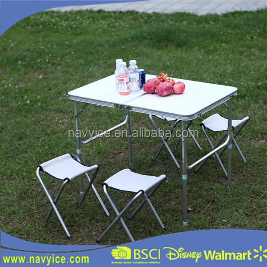 3Ft Portable Outdoor Picnic <strong>Table</strong> Party Dining <strong>Table</strong> Camping Desk Height Adjustable Aluminum Folding <strong>Table</strong> and Stools/Chairs