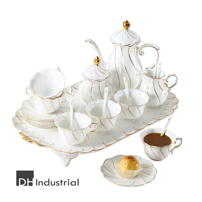 royal classic 16 pcs tea set with gold rim for gift
