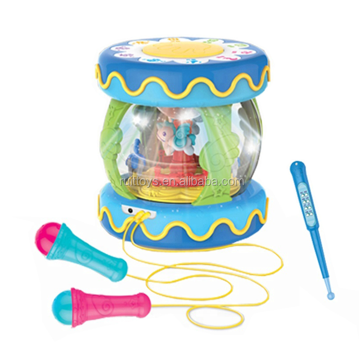 Baby Toys Rotatable Musical Instrument Electric Drum Toy With Baton