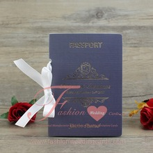 Customized Creative Unique Royal Blue Passport Wedding Card