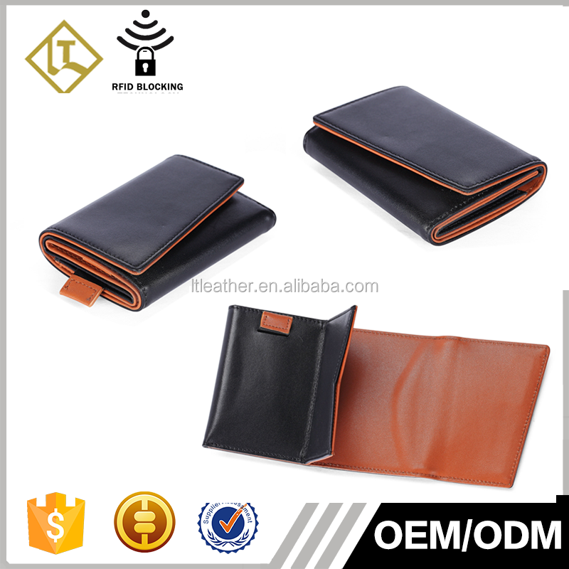 Factory Wholesale Rfid Blocking Men Trifold Wallet Man Genuine Leather Wallet Ultra Thin Slim Card Holder Wallet With Pull Tab