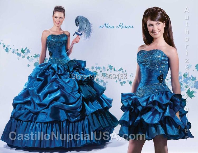 2016 Princess Royal Blue Detachable Skirts Ball Gown Dress