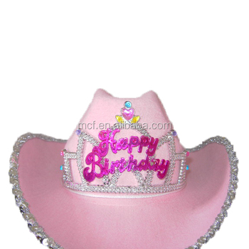 MCH-1846 Party Carnival Happy Birthday novelty women pink blinking Tiara  felt cowgirl hat with 9133ade1c08