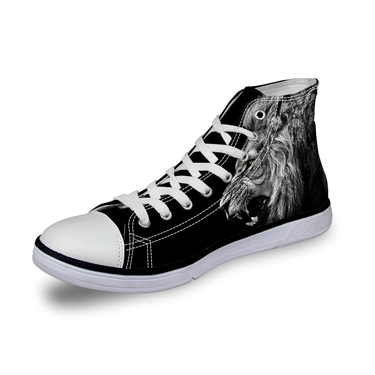 InterestPrint Dark Blue Colored Spooky Forest Tree Landscape High Top Shoes for Women