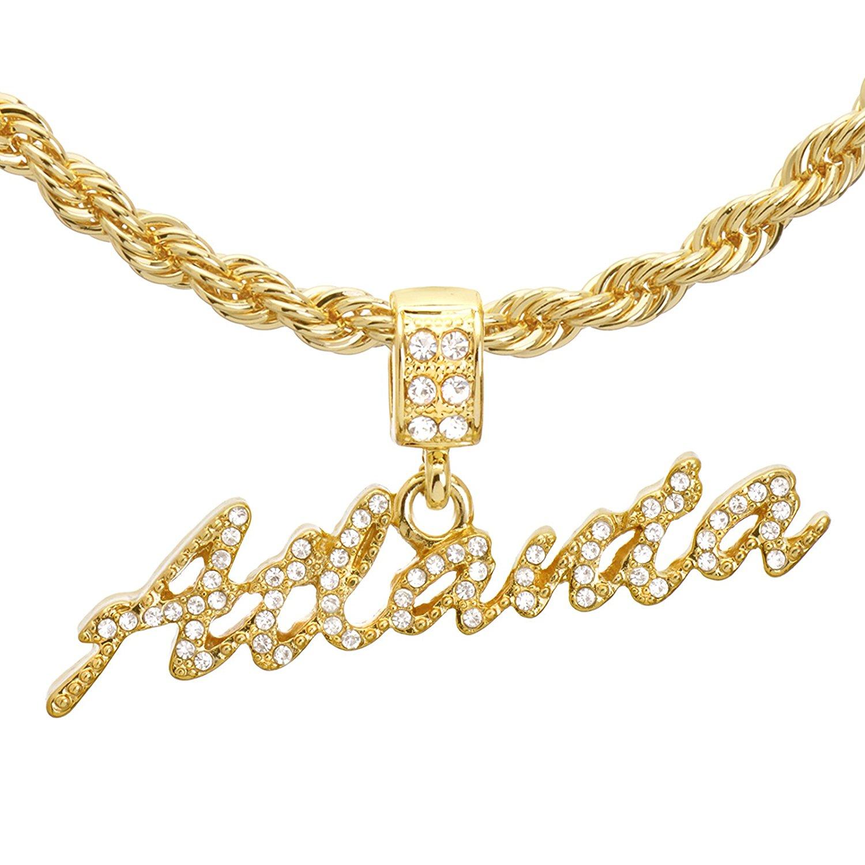 "Men's Hip Hop 24"" Rope Chain 14k Gold Plated CZ Stoned ATLANTA Sign Pendant Necklace Set HC 1217 G"
