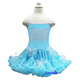 Rhinestone Turquoise Blue Princess Snowflake Petti Party Dress 1-7Y Elsa Costume
