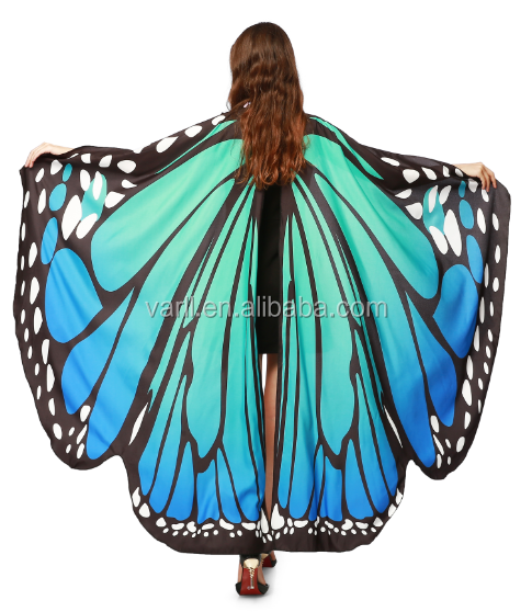 8752ecaf2a561 Women Shawl Wrap Novelty Print Chiffon Butterfly Wing Cape Scarf Peacock  Poncho For Halloween By Varll - Buy Superhero Cape And Mask,Superhero ...