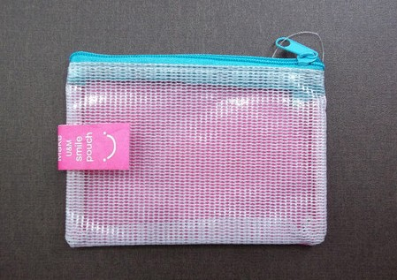 Big Smile Happy Face PVC Flat pouch Mesh bag Coin purse