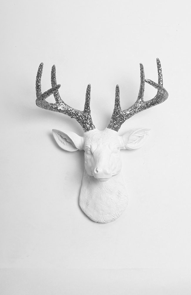 Glitter Deer Head Wall Mount - The Mini Weston | Miniature White Resin Deer Head with Silver Glitter Antlers Wall Decor | Animal Head Wall Hanging | Fake Stag Animal Mounts By White Faux Taxidermy