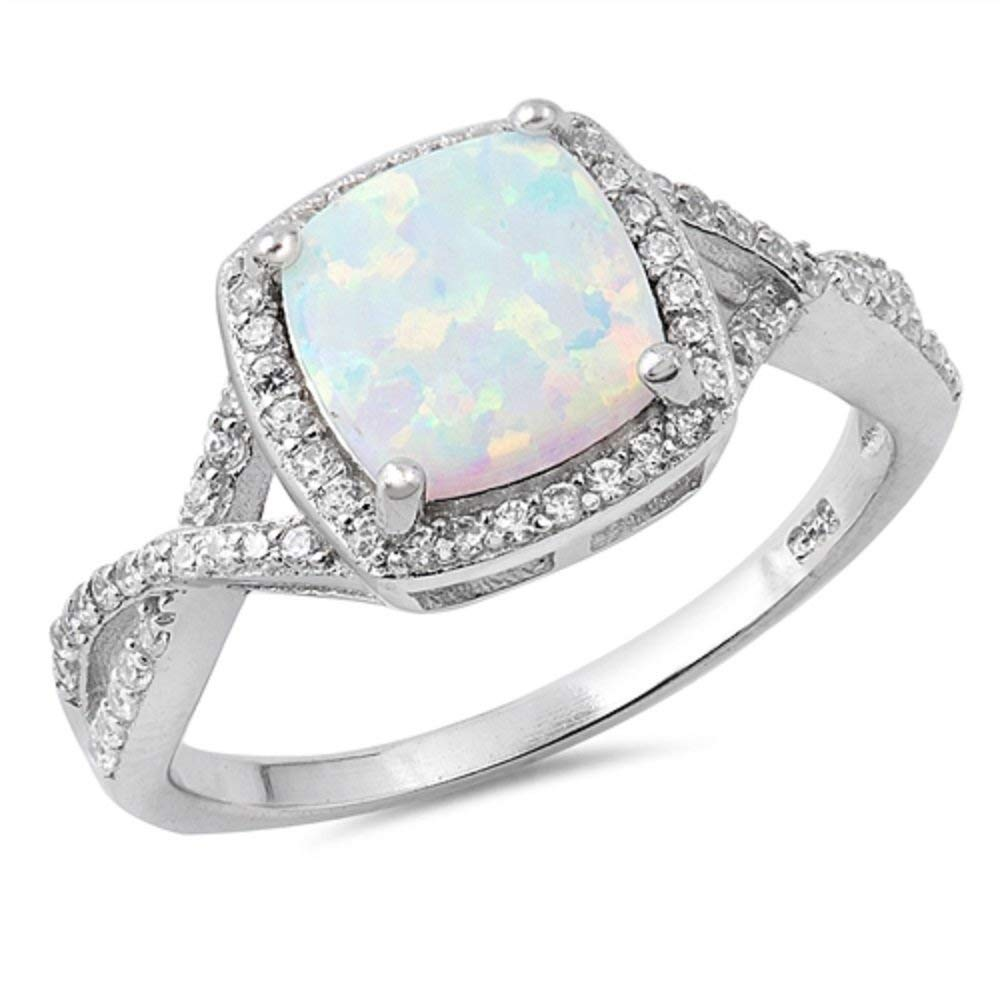 CloseoutWarehouse Heart Center Bezel Blue Simulated Opal Ring 925 Sterling Silver Size 8