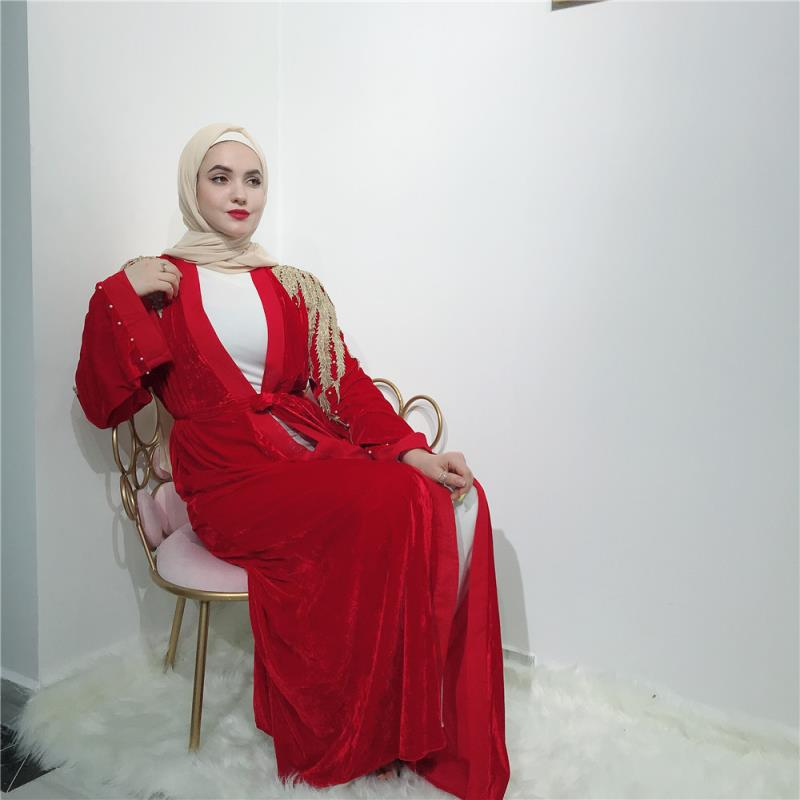 Latest new velvet abaya with lace/pearl maxi dress muslim women fashion abaya evening dress