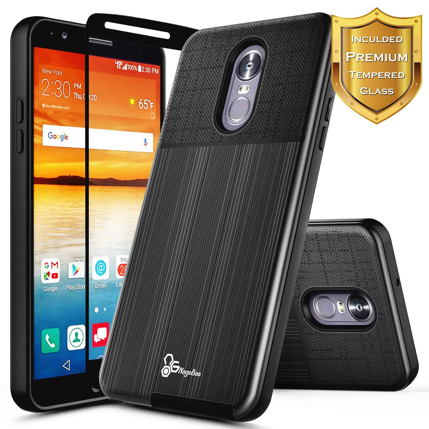 NageBee [Brushed] Case Compatible with LG Stylo 4 / Stylo 4 Plus (Q710) / LG Q Stylus w/[Full Cover Tempered Glass Screen Protector] [Heavy Duty] Defender Dual Layer Shock Proof Hybrid Case -Black