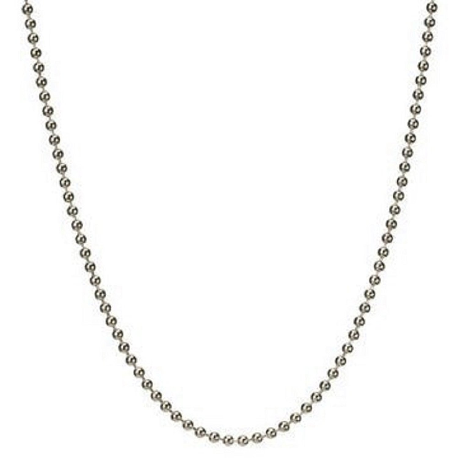 """2.5mm Solid Round Link Ball Beaded Chain Necklace & Bracelet Italian .925 Sterling Silver 7"""", 8"""", 14"""", 16"""", 18"""", 20"""", 22"""", 24"""", 26"""", 30"""", 33"""", 36"""" inches - 250Gauge (Nickel Free)"""