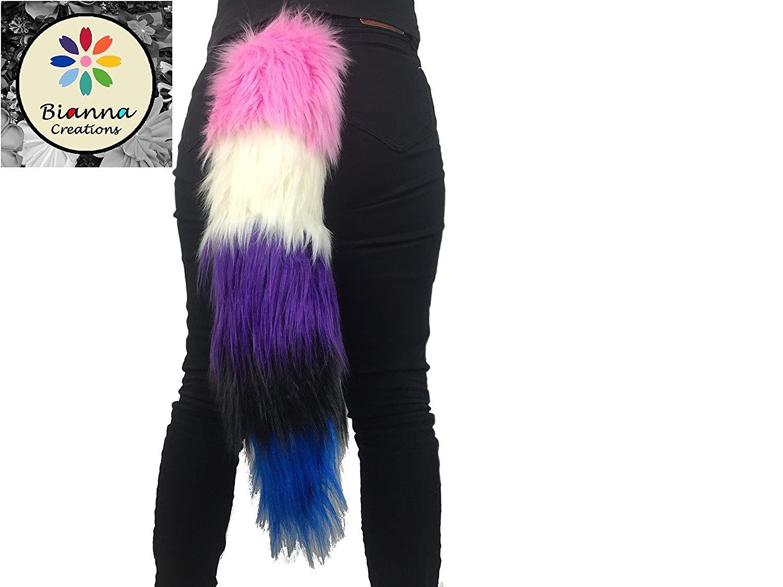 "Handmade Fluidgender Luxury Tail, 20 25 30 35 40"" long, Custom Order, Super Soft Faux Fur, Bianna Creations Handmade, Gay Pride Parade Dress Up Accessory"