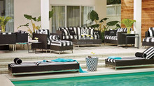 Contemporary relaxing pool lounger bed and rattan sofa furniture lounge set outdoor