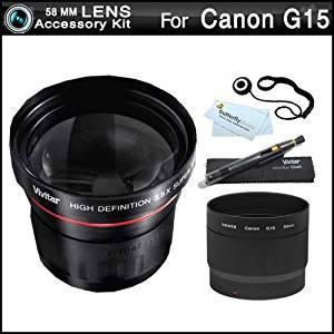 Includes Wide Angle, Telephoto, 3PC Filter Kit, 4PC Macro Lens Kit, Pen Dust Lens Cleaner, Lens Tube Adapter 58mm Lens Filter Kit for Canon PowerShot G12 G11 G10