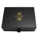 fancy black leatherette paper drawer box packaging with ribbon handle