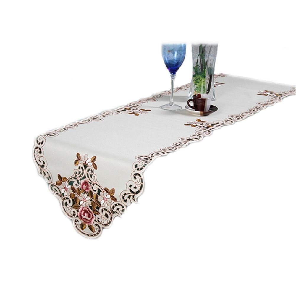 Taloyer European Pastoral Flower Lace Embroidery Table Runner Coffee Table Cloth Flag for Festival Party Decoration Ornament (40200)