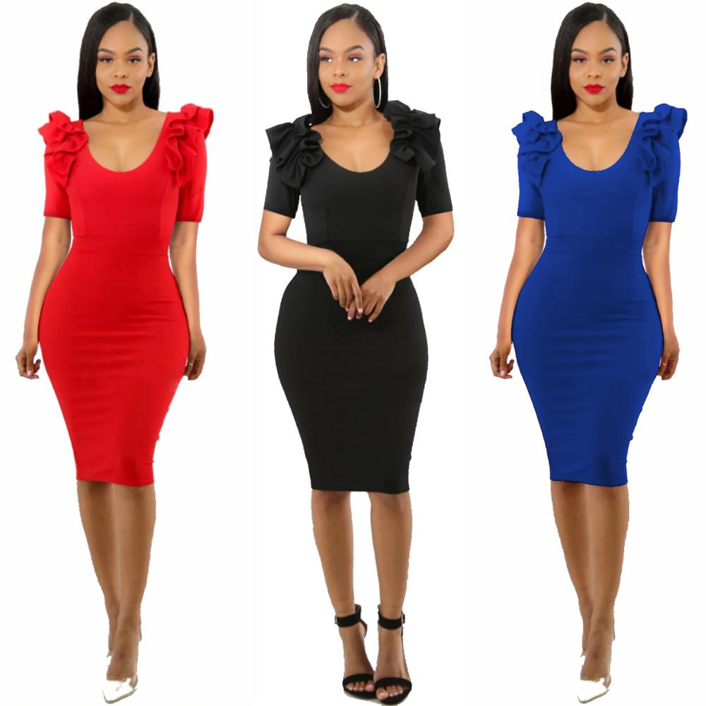 Sexy Party Dress Vrouwen Zomer Ruches Korte Mouwen Back Zip Elegant Bodycon Jurk Zwart Navy Rood Potlood Jurken
