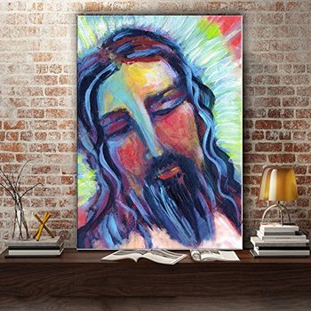 Handmade Impression Jesus Canvas Painting Abstract Figure On Wall Art