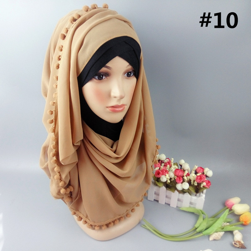 Women scarf hijab sexy pure chiffon plain shawl wrap with hair ball headscarf muslim shawls wraps