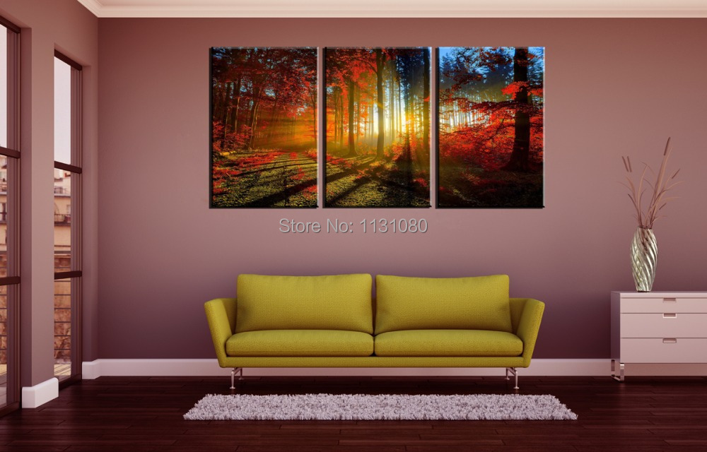 3 pieces ready to hang wall art canvas prints large oil painting red trees sunlight wall. Black Bedroom Furniture Sets. Home Design Ideas