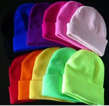 28 Colors Drop Shipping New 2015 Fashion Knitted Neon Women Beanie Girls Autumn Casual Cap Women's Warm Winter Hats Unisex