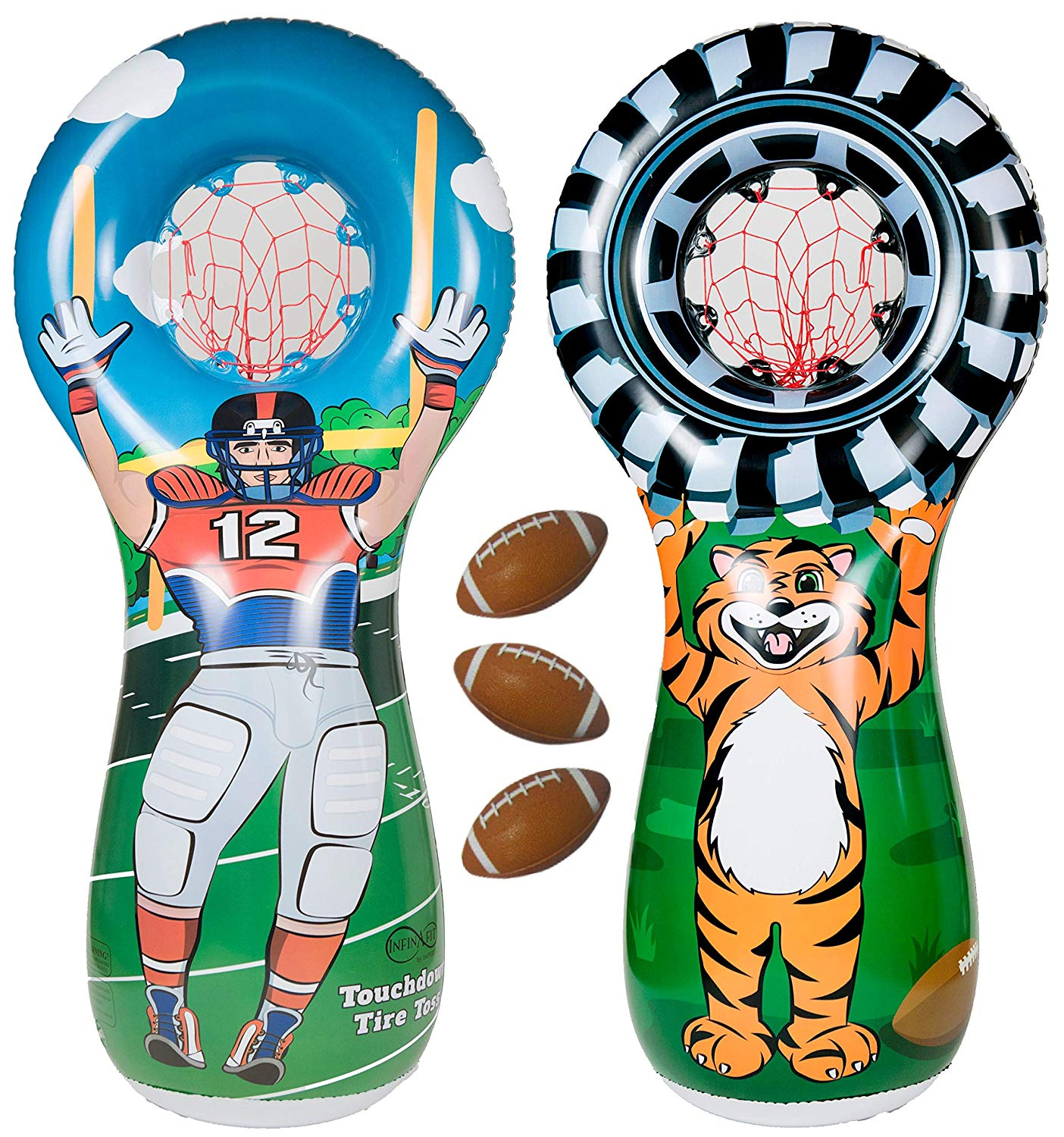 b5f7dc37a1ec ImpiriLux Inflatable Football Toss Sports Game 3 Mini Footballs Included   5  Foot Tall Double Sided