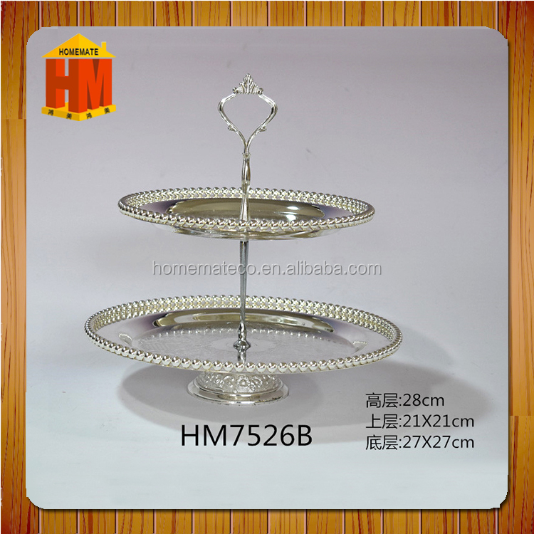 2 layer cup cake holder candy round serving tray / fruit basket / luxury villa modern party bead nuts holder with crown handle