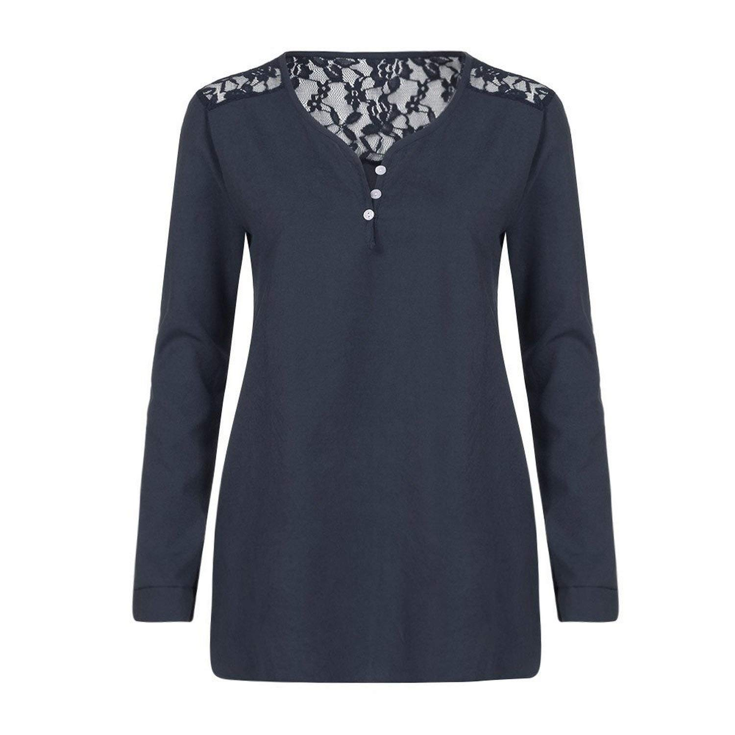 9b79e537a3 Get Quotations · GLORIA WILKINS Women Henley ShirtSexy Floral Lace Shoulder Long  Sleeve V Neck Button Decor T-