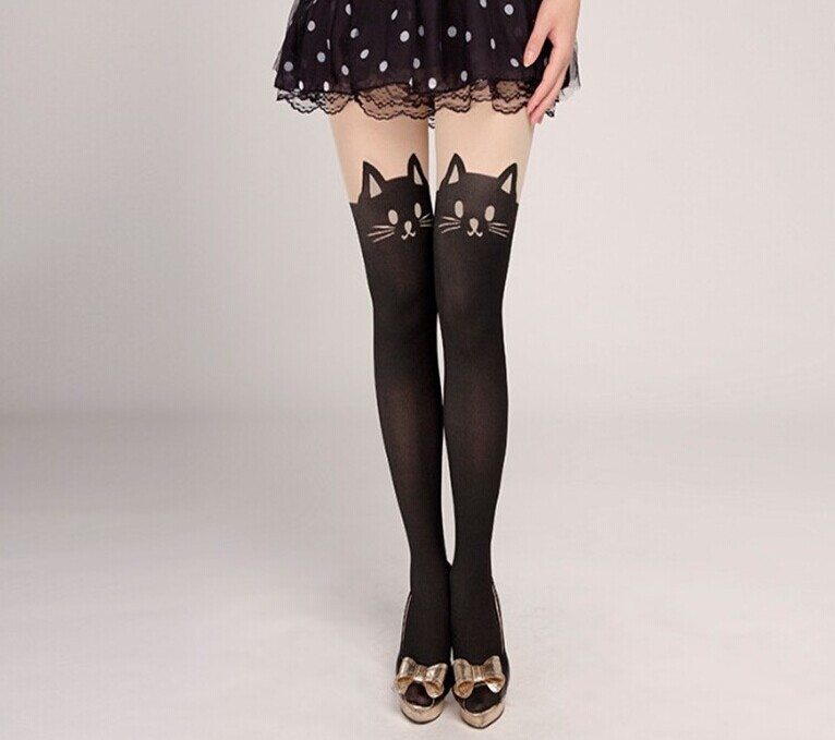 Fabricant Mignon Chat Jacquard Filles Collants