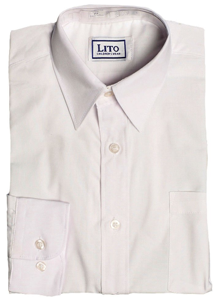 52aac3191af5 Get Quotations · Boys White or Ivory Long Sleeve Wrinkle Resistant Dress  Shirt