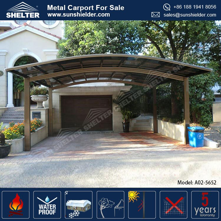 Low Cost Metal Aluminum Garages Carport For 2 Car / Door Gate Canopy ...