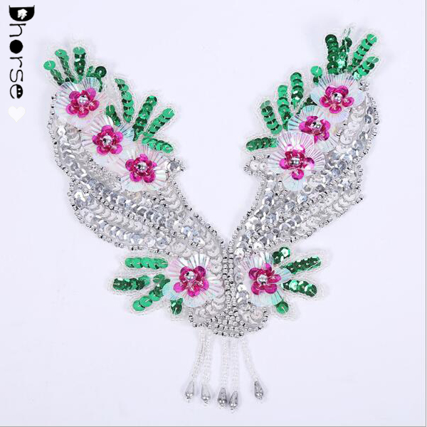 2018 new style 3D Flower neck beaded applique sequined patch for dress