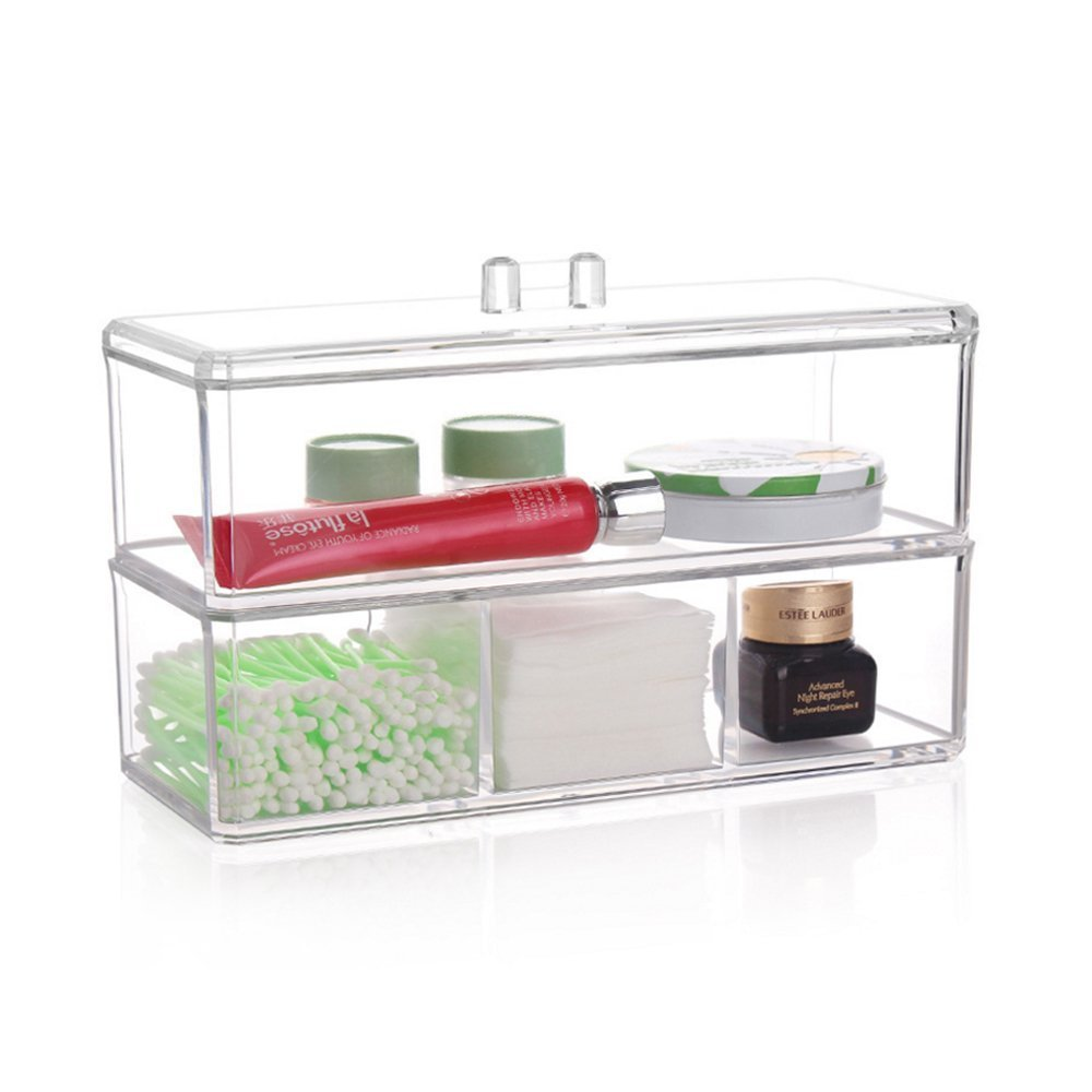 Clear Makeup Organizer Display Box Acrylic Cosmetic Holders -4 Storage Grid With Lid - Storage Box Makeup 3 Section Can Separate