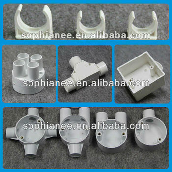 Full types plastic electrical wire pipe fittings 16 40mm for Types of plastic water pipe