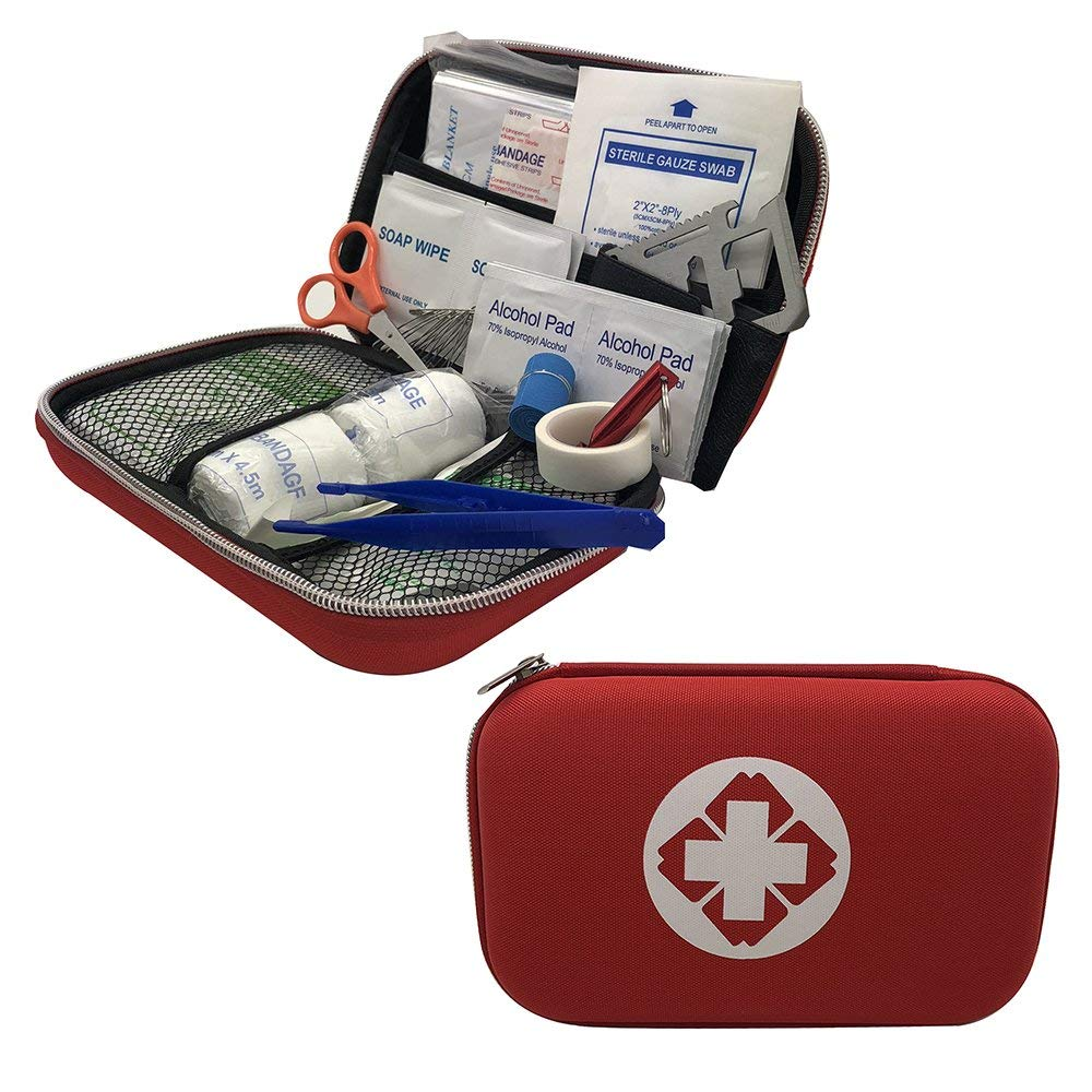 Lefeda AidPro Red or Black Outdoor First Aid Kit 80-Piece Medical Kits Compact Essential Supplies for Emergency, Outdoor Survival, Car, Home, Office, Travel, etc.