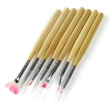 7Pcs Wooden Handle Nail Art Acrylic Design Brush Pen Polish Set Kit NB002