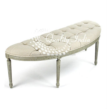 Admirable D Shape White Fabric Upholstered Bench Buy Sit Up Bench Piano Bench White Waiting Bench Product On Alibaba Com Machost Co Dining Chair Design Ideas Machostcouk
