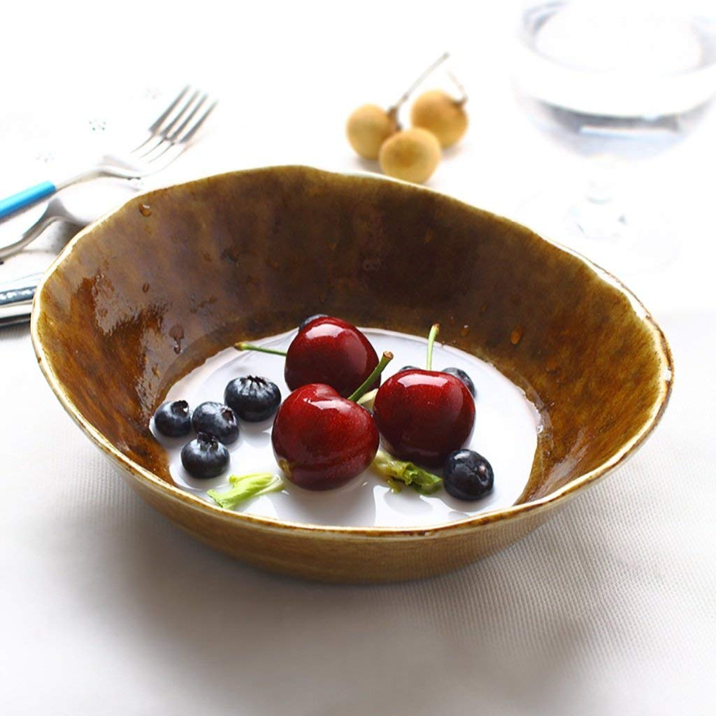 European Style Household Tableware Ceramic Creative Pasta Bowl Salad Bowl Vegetable Bowl Dessert Bowl Fruit Plate (Size: Diameter 19.5CM High 6CM)
