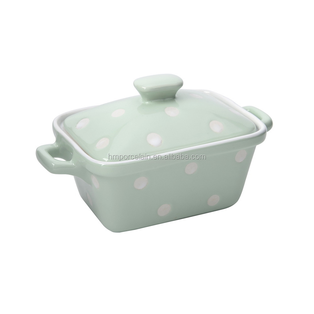 Retangle Shape Ceramic Bake Tray Spot Design Stoneware Oven Casserole Dish with Lid and Handle
