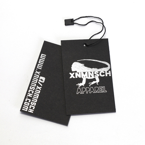 Fashion Custom Personalised Printed Paper Garment Swing Black Matte Cardstock Hang Tag For Clothing