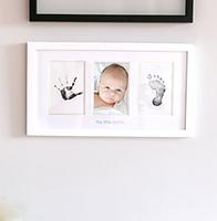 3d Wooden Gift Newborn Baby Handprint and Footprint Kit Photo Frame