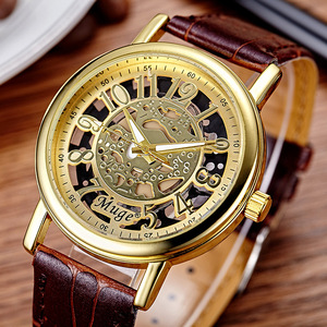 Wholesale Hollow Out Skeleton Leather Watch Men Skeleton Mechanical Watch for Gifts